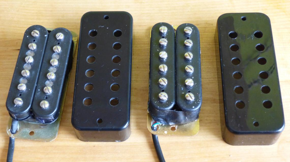 photo of a Dimarzio 210 soapbar pickup and a Yamaha RGX pickup with covers off
