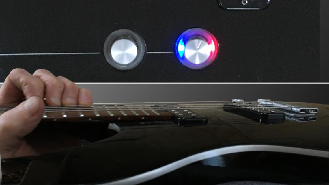 composite pic show the pickup indicator light, and that you can't see it when playing