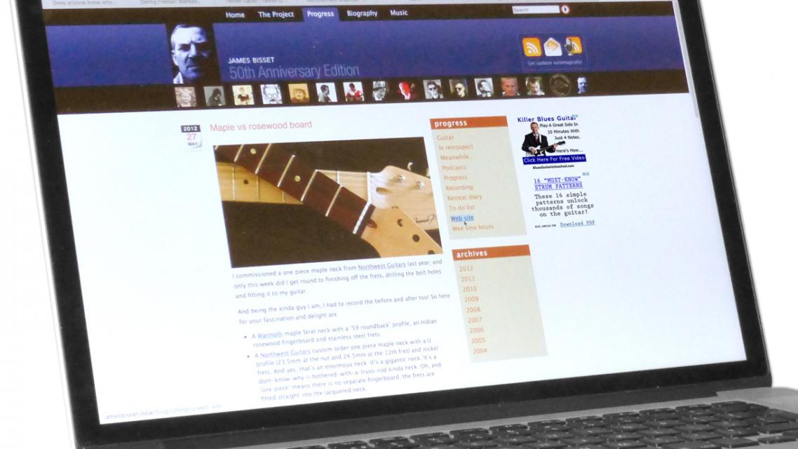 previous web site design on a laptop screen