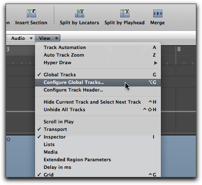 Global Track configuration in the View menu