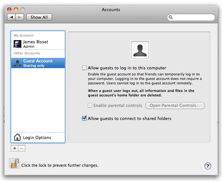 Guest Account panel in Mac OS X 10.6